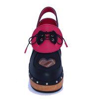 Handmade Clogs Black Pink Slingback Shoe1
