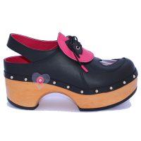 Handmade Clogs Black Pink Slingback Shoe2