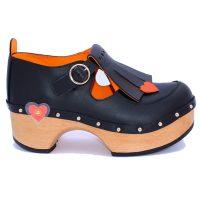 Handmade Clogs Fringe Black Shoe2