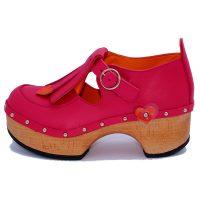 Handmade Clogs Fringe Pink Shoe2