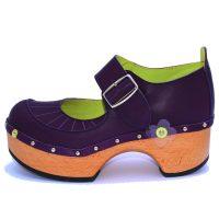 Handmade Clogs Mary Jane Purple Shoe1